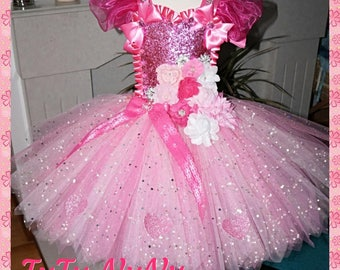 Handmade Girls Pink Flower Fairy Tutu Dress