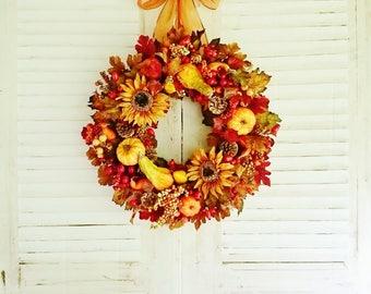 Sunflower Wreath, Fall Wreaths, Front Door Wreaths, Pumpkin Gourd Wreaths, Thanksgiving Wreaths, XL Wreaths, Autumn Wreaths, Door Decor W204