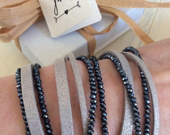 Metallic suede and faceted crystal wrap bracelet