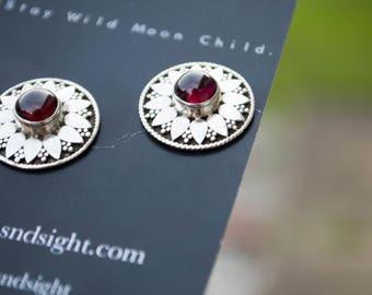Garnet Sterling Silver, Flower,Earring Studs,Antheia's Shield