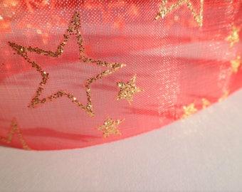 organza ribbon with star motif