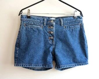 Calvin Klein Shorts Mini Denim Shorts Vintage Jeans Shorts Women's Blue Denim Shorts Medium Size