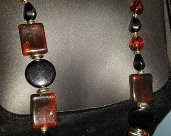 Black and Amber with silver accents necklace, 34 inches