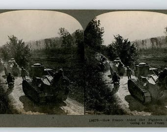 Stereoview Card World War I, WWI French Renault Tanks Going to the Front