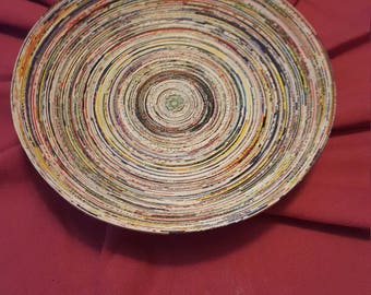 Recycled coiled paper bowl
