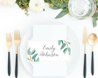 Eucalyptus Bohemian Floral Place Cards | Boho Herbal Advice Escort Cards | Greenery Leaf Table Number Printables | EUC1174