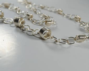 Quirky necklace, silver extra long  necklace, statement spiral and link silver plate necklace, wearable art.