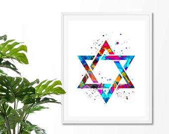 Star Of David #8 Watercolor Art Print,  Jewish, Shield of David, Hebrew, Religious, Magen David, Poster,Wall Art, Giclee,  Home Decor