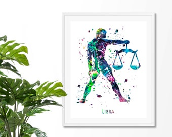 Libra #2 Watercolor  Astrology Art, Print, Libra  Sign , Libra Zodiac, Libra Wall Art,  Libra Poster, Gifts for  Libra