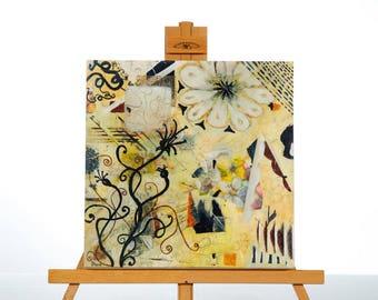 "Abstract Painting Art Acrylic Original // ""Secret Garden"" wooden panel unframed size 12x12"" (30x30cm) by Juliette Anne"