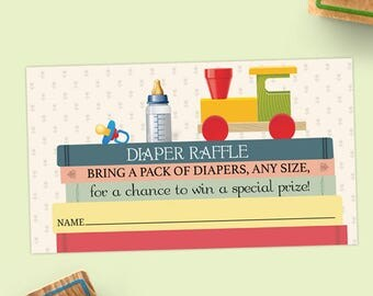 """Printable Book Stack Baby Shower Diaper Raffle Card - 3.5""""x2"""", JPG Instant Download (not editable)"""