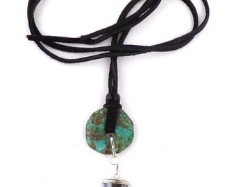 Donut Necklace / Leather Necklace / Hematite Bear Claw / Genuine Turquoise Stone / 30 Inches Long / Handmade Tribal Necklace