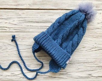 Blue Baby merino hat Organic baby clothes Baby reveal box Organic newborn hat Knit earflap hat Merino wool baby hat Woolen hat earflap