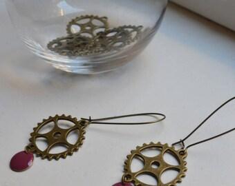 Gears and purple sequin earrings