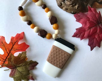 Pumpkin Spiced Latte Pendant Teether, coffee teether, baby carrier accessories, stroller toy, teething toy, teething strap, latte teether