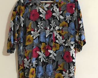 Vintage Mens Floral Short Sleeve Shirt