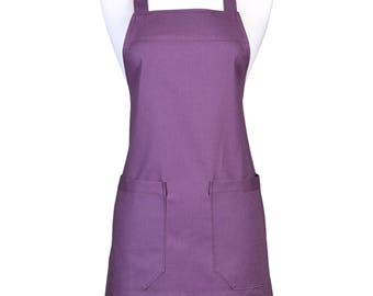 No Ties Womens Linen Apron Retro Kitchen Cooking Chef Vintage Style with Pockets in Eggplant Purple Kaufman Essex Linen