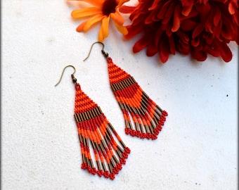 Native American Inspired,Fringe Earrings,Beaded Fringe Earrings,Southwestern Earrings,Long Fringe,Seed bead earring,Nickel Free,Gift for her