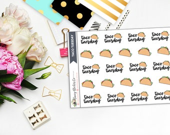 Taco Tuesday Planner Stickers | for use with Erin Condren Lifeplanner™, Filofax, Personal, A5, Happy Planner