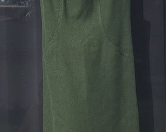 1960's A-Line Shift Dress - Majestic Label Forest Green Wool with Front Hip Pockets