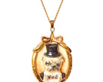 Porcelain Dog Cameo Necklace/ oval shape necklace/ dog necklace/ Pug necklace/ wonderland necklace/ pendant/ necklace/ Pug/ Dog