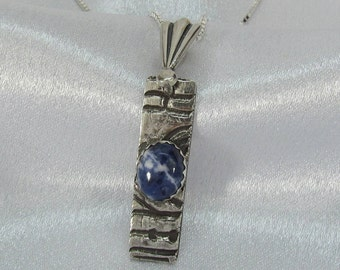 "Item 6108 - ""Clouds of Blue"" 999 PMC Fine Silver Handcrafted, carved, sculpted with Genuine Blue Sodalite"