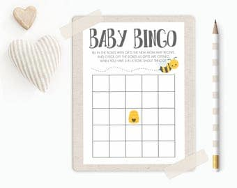 "Bee Baby Shower Bingo Cards Printable || 5""x7"" Bee Baby Shower Bingo Game 