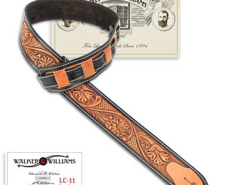 Walker & Williams LC-11 100% Handmade Leather Guitar Strap in Hand Tooled Live Oak Pattern