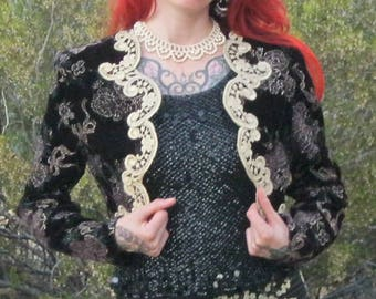 Vintage 80's SCOTT MCCLINTOCK Black Velvet Brocade Bolero Jacket | Gold Filigree Trim | Floral Print | Size 4 | Boho/Glam
