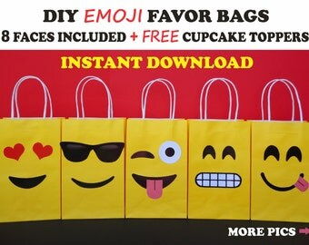 DIY Emoji FAVOR BAGS/ Emoji Party Bags/ Emoji Birthday Party/ Favors/ Supplies/ Goody/ Goodie/ Candy/ Treat/ Gift Sacks/ Bags/ Decorations