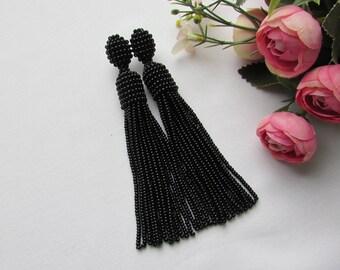 Black beaded tassel earrings Tassel earrings Oscar tassel earrings  Long earrings Jewelry handmade Wedding earrings Statements earrings