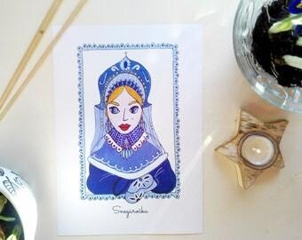 Snegurocka, Snegurka, russian folklore, Снегурочка, Снегурка, russian art, russian folklore, christmas illustration