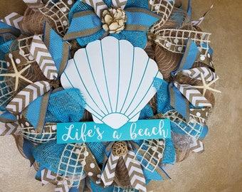 Inventory Sale ,Beach wreath, Nautical wreath, Seashell wreath,  Mesh wreath, Front door wreath, Beach decor, Coastal decor