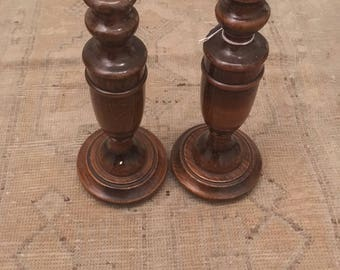 Antique English Wooden Turned Candlesticks