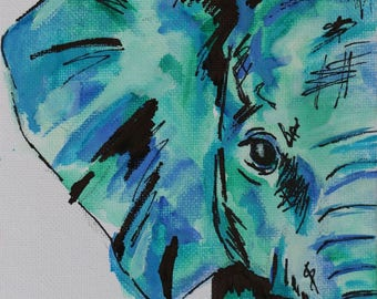 Elephant watercolour painting on canvas board