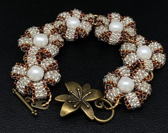 """Delicate Hand Beaded Bracelet with Golden , Silver Beads and White Pearls .Delightful Jewelry Bracelet """"Flowers""""/""""Daisies"""""""