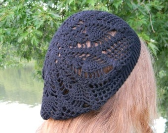 Gothic party Summer beanie Crochet hat black hat for women bambu viskose linen beach hat knitted gift for girlfried summer accessories