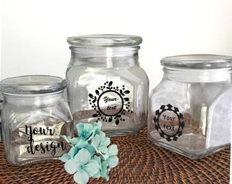 Personalized jar- Custom jar- Custom glass jar- candy jars- Kitchen jar