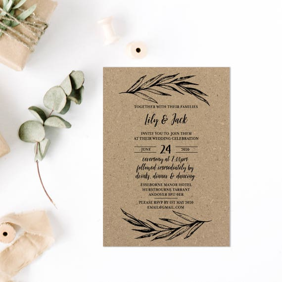 Bohemian wedding invitations, Boho chic wedding set, Kraft wedding invites, Rustic wedding invitations kits, Printed Invitations A5 or A6