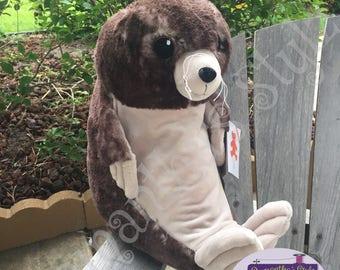 Sea lion plush toy etsy personalized stuffed sea lion adoption gift plush sea lion baby gift personalized baby negle Images