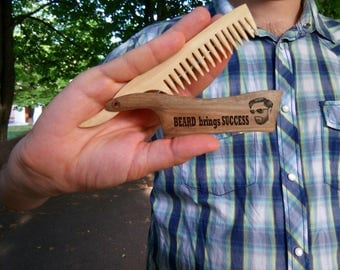 mustache comb gift for men Gift for husband beard grooming kit engraved comb grandpa gifts wooden beard comb Birthday gift