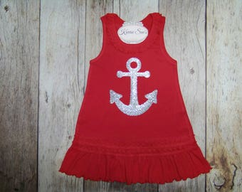Anchor Dress / Red / Silver Glitter / Beach Dress / Nautical Dress / Cruise Dress / Birthday / Sailor / Infant / Baby / Girl / Toddler