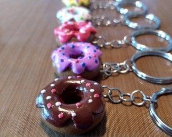 Cute Polymer Clay Handmade Glass Glazed Donut Keychain