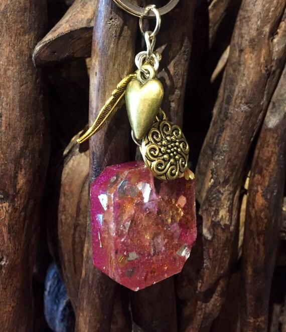 Phoenix Feather Orgonite® Keychain- Gypsy Soul Free Spirit Energy Empath Protection Orgone Generator Keychain Hayoka Empath Orgonite®