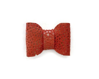 Alligator Clip Hair Bow, Genuine Leather, Hair Accessories, Coral Bow, Leather Bow, Hair Bow, Alligator Clip, Coral Leather Bow