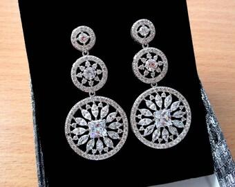 Crystal Wedding earrings Bridal earrings Bridal jewelry Wedding jewelry Circle earrings Chandelier earrings Long earrings Dangle earrings jm
