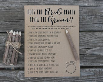How Well Does the Bride Know the Groom? INSTANT DOWNLOAD Bridal Shower Game | Rustic, Funny, Fun Printable Bridal Shower Question Game