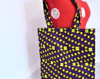 Tote bag, purple and yellow Africa