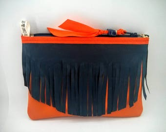 Navy Blue and orange leather clutch