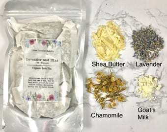 Lavender and Mint | Chamomile | Bath Tea | Spa and Relaxation | Herbal | Milk Bath | Goat's Milk | Shea Butter | Moisturizing | Aromatherapy